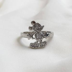 VTG Silver Mickey Mouse CZ Diamond Ring
